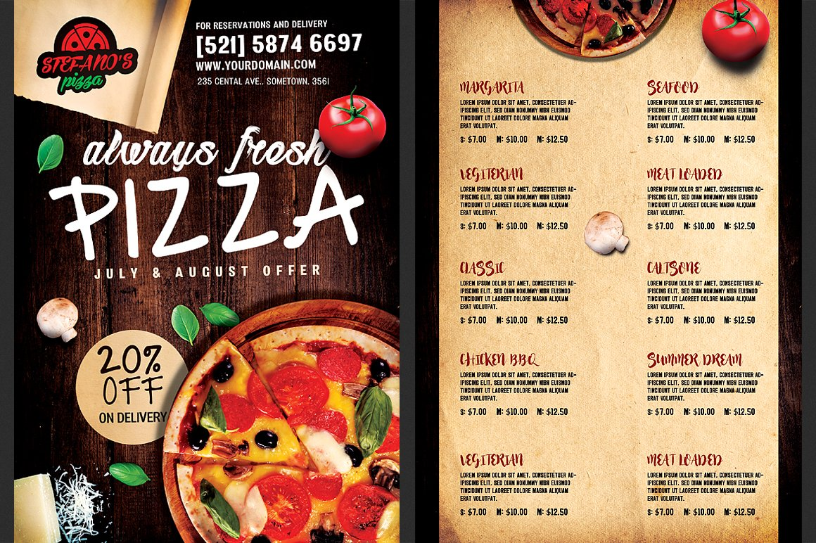Pizza Flyer Menu Template Flyer Templates Creative Market - Delivery menu template
