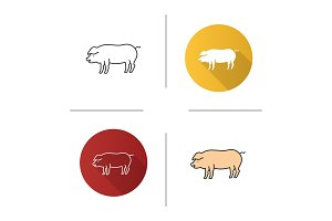 Pig icons set