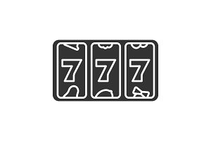 Slot machine with three sevens glyph icon