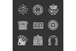 Casino chalk icons set