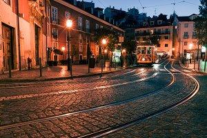 Lisbon night street