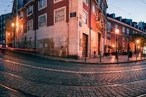 Lisbon night panorama