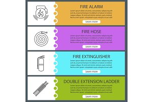 Firefighting web banner templates set
