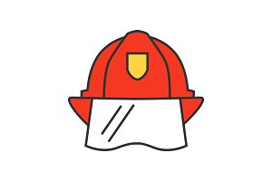 Firefighter helmet color icon