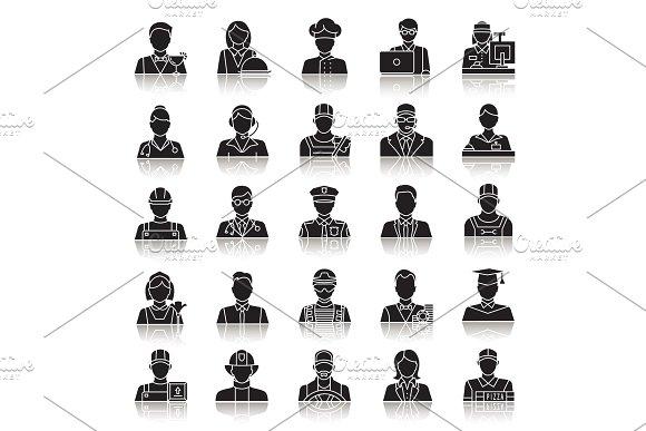 Professions Drop Shadow Black Glyph Icons Set