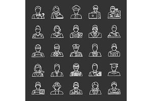 Professions chalk icons set