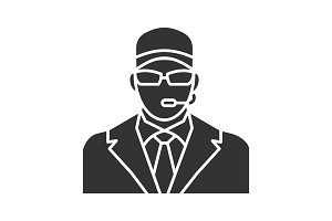 Security guard glyph icon