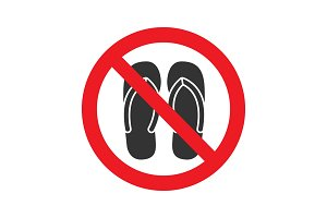 Forbidden sign with slippers glyph icon