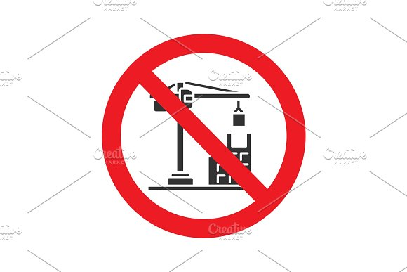 Forbidden Sign With Tower Crane Glyph Icon