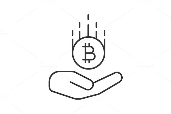 Open Hand With Bitcoin Linear Icon