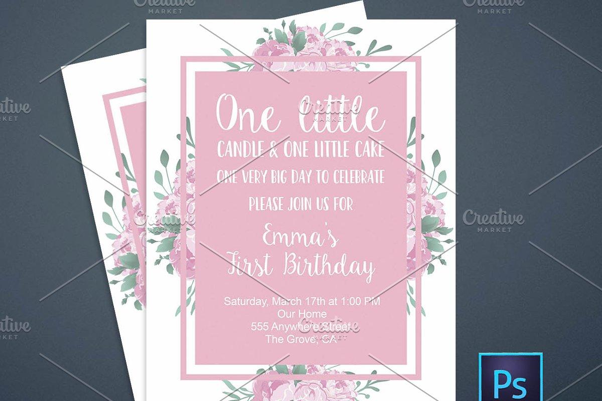 First Birthday Floral Invitation