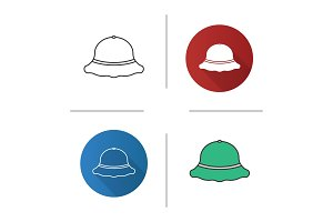 Fisherman's hat icons set
