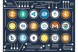 Cryptocurrency Icons Set on Computer Microscheme