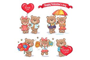 Happy Valentines Day Teddy Bears Couples in Love