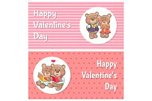 Happy Valentines Day Posters Soft Fluffy Teddies