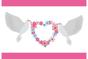 Doves Carrying Wreath Flowers Vector Illustration