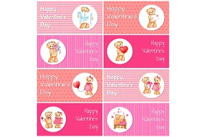 Happy Valentines Day Horizontal Postcards Set