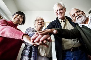 Group of senior friends support