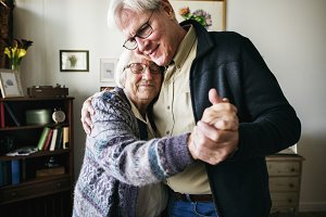 Senior couple dancing together