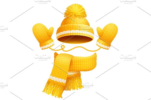 Cute Hat Scarf And Gloves Vector Illustration