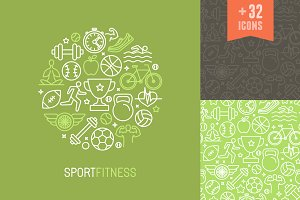 Sport and fitness icons and patterns