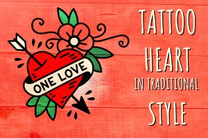 Heart One Love in traditional Tattoo