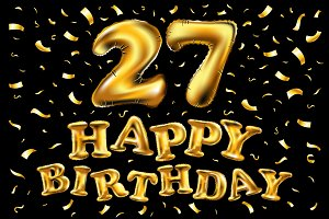 vector happy birthday 27 balloon