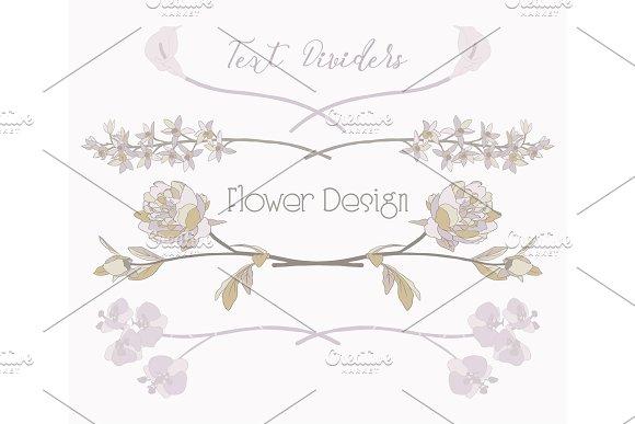 Vector Floral Text Dividers Flower Design Elements