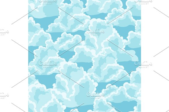 Blue Sky Seamless Pattern With Curly Clouds