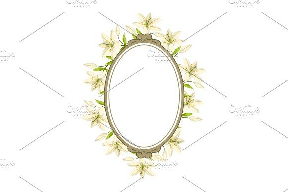 Vintage Decorative Frame With Beautiful Lilies Retro Design