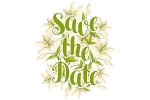 Save the date with beautiful lilies. Retro design