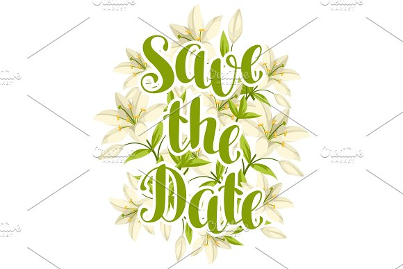 Save The Date With Beautiful Lilies Retro Design