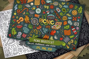 Picnic Objects & Symbols Set