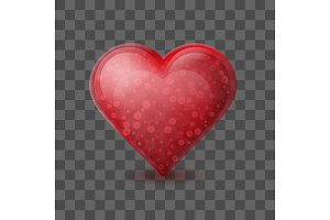 Red heart with bubbles inside isolated on transparent background.