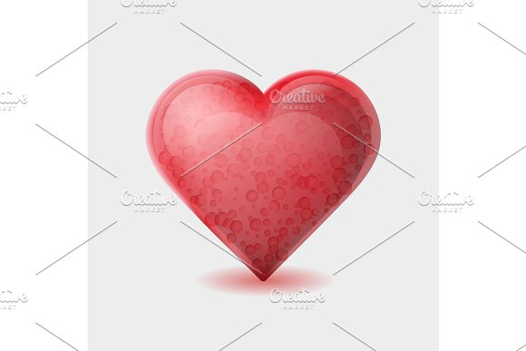 Red Heart With Bubbles Inside Isolated On White Background
