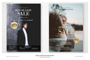 4 Sales Flyer with Gold Effect