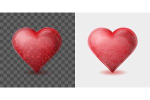 Red heart with bubbles inside isolated on white and transparent background.