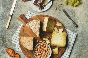 Flat-lay of cheese platter