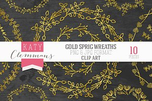 Gold Sprig Wreaths clip art pack