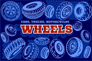 Set of different wheels
