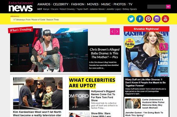 Entertainment News Celebrity Portal ~ WordPress Magazine Themes ...