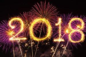 2018 written with Sparkle firework