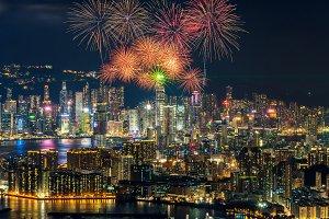 over Hong Kong cityscape