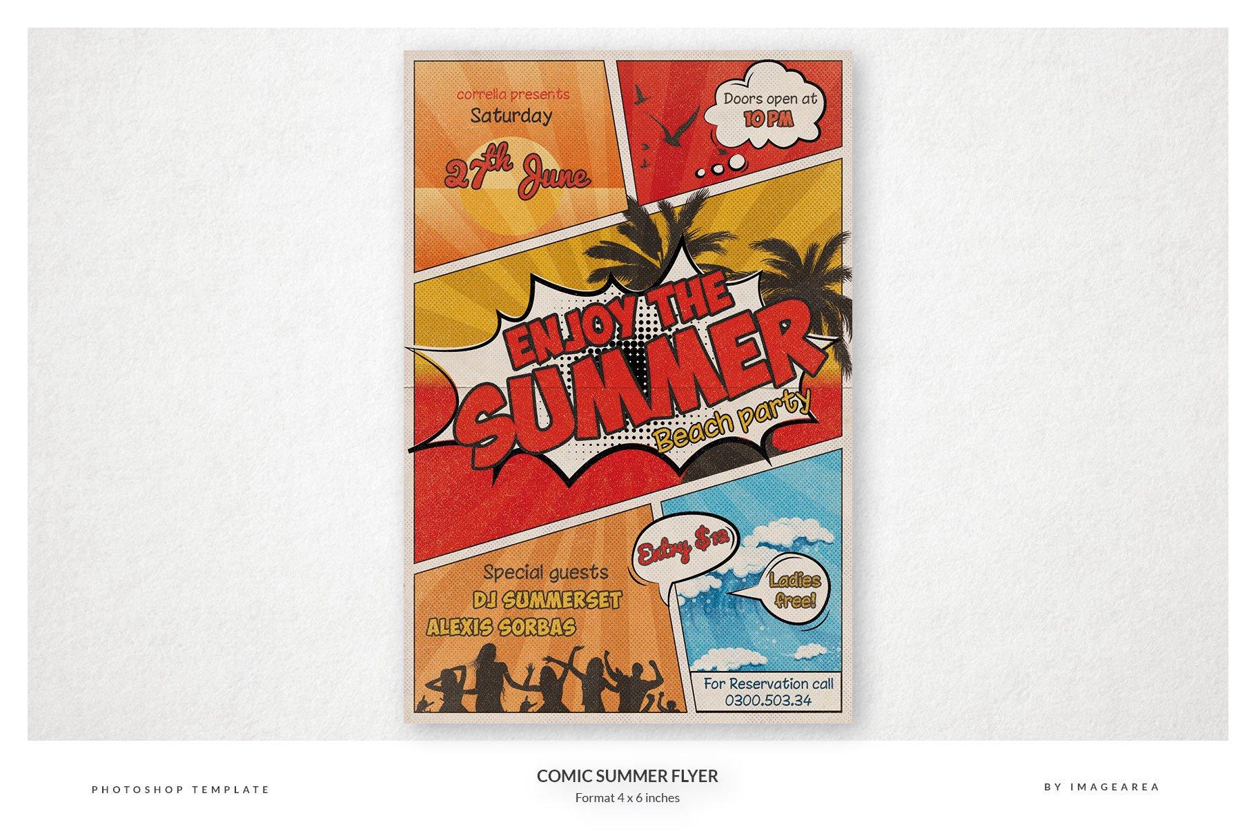 comic summer flyer flyer templates creative market