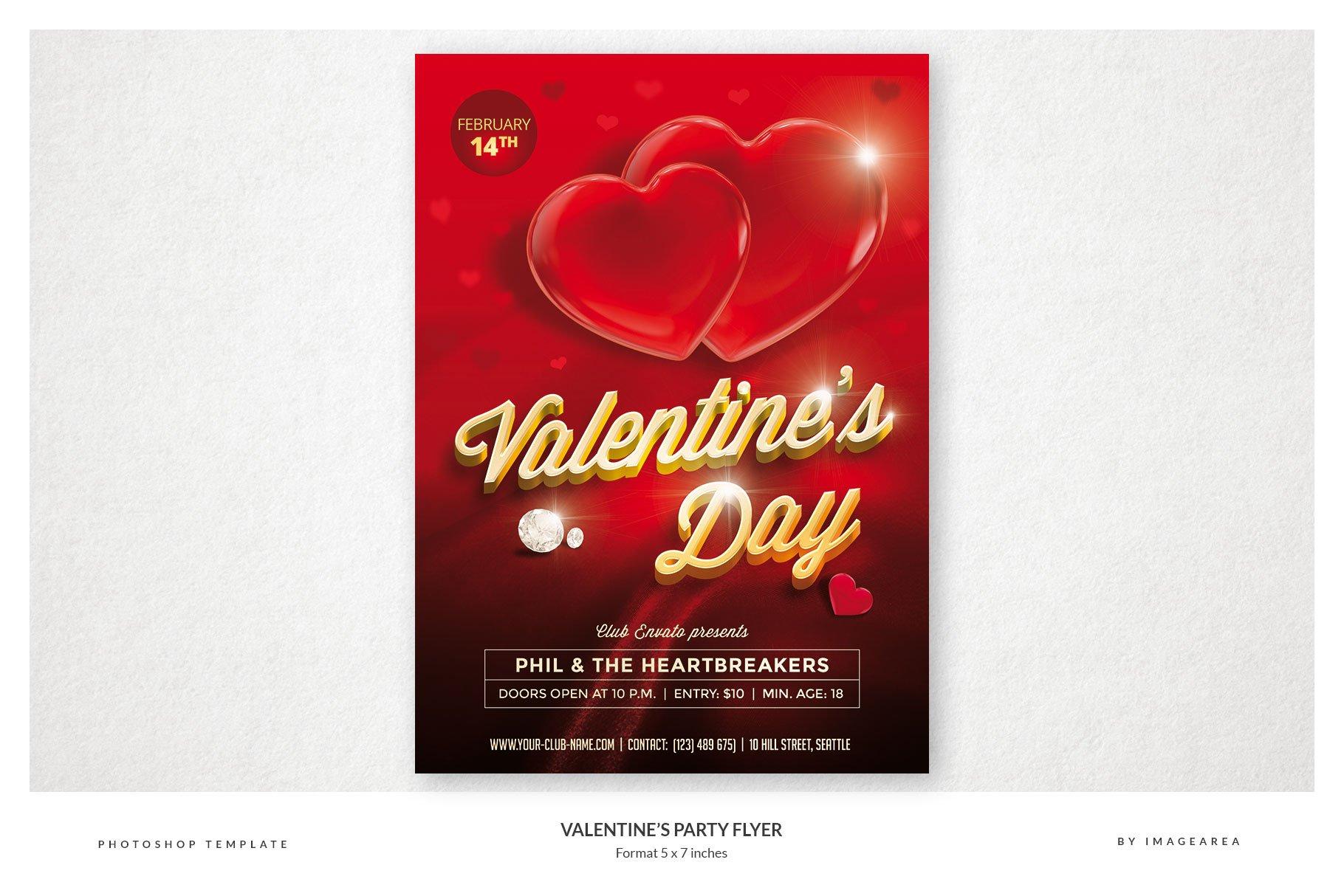 Valentines Party Flyer Templates Creative Market