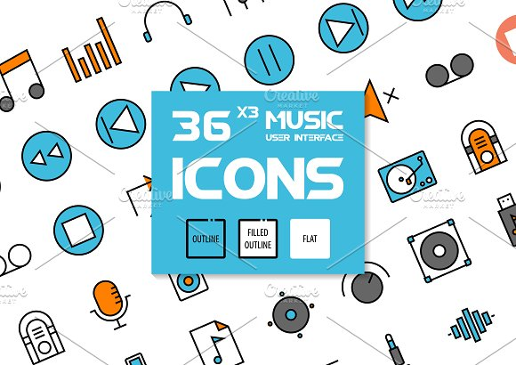36x3 Music User Interface Icons