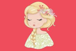 Cute Girl-Girl vector illustration