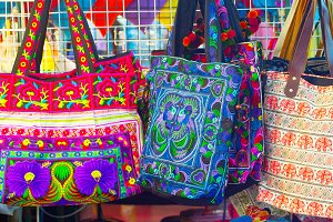 Bags and souvenirs night market Thai