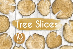 Watercolour Tree Slices