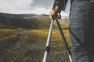Unrecognizable Man Holding Trekking